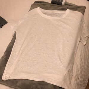 Lululemon oversized white sheer T-shirt